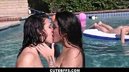 Hot Lesbian Teen Best Friends Record Drunk Pool Party